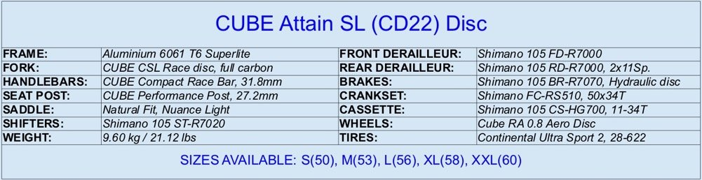 2020 CUBE Attain SL specifications