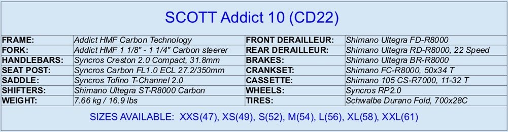 SCOTT Addict 10 (CD22) specifications