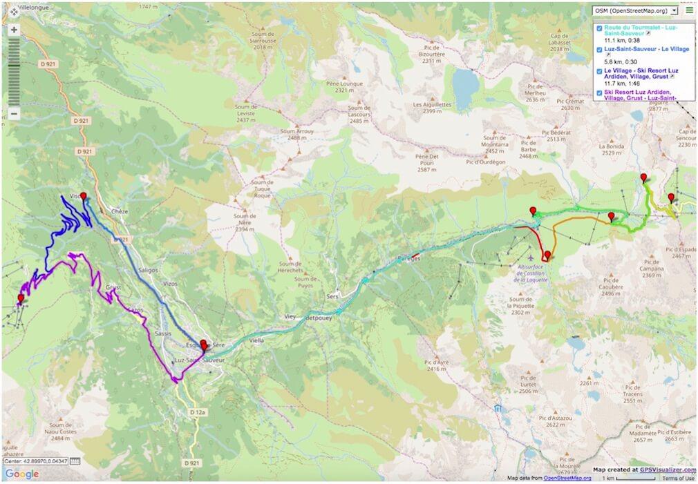 Col du Tourmalet and Luz Ardiden road bike route