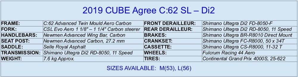 2019 CUBE Agree C:62 SL Specifications